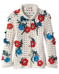 Chanel crochet sweater Crochet Bolero, Crochet Coat, Crochet Jacket, Crochet Cardigan, Irish Crochet, Crochet Clothes, Crochet Dresses, Cotton Cardigan, Crochet Sweaters