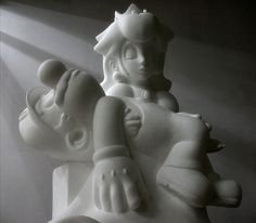 Kordian Lewandowski, polish artist, has taken inspiration from Michelangelo pieta sculpture and reinterpreted it using Nintendo characters - Mario.art