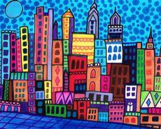 50% Off- Philadelphia Art Art Print Poster by Heather Galler Abstract Modern Folk Art City Cityscape (HG756)
