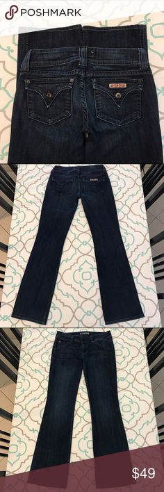 """💙👖Gorgeous Hudson Jeans👖💙27 3/4 Dark! Stretch! 💙👖Gorgeous Hudson Jeans👖💙 Size 27 (3/4). 30.75"""" Inseam. 7.5"""" Rise. 14"""" Across Back. Great Stretch. Beautiful Dark Blue Wash. very Light Fading. Very nice hem. Tiny Snag above back pocket. Chipped paint on buttons & rivets. Ultra Cute Back Flap Pockets. Love this signature Hudson look. Absolutely Gorgeous! Anthropologie. Ask me any questions! : ) Hudson Jeans Jeans Boot Cut"""