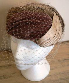 vintage hats   3 TONED Velvet Satin PILL BOX by LandLockedCottage, $225.00