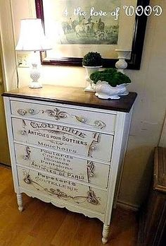 Fabulous French Typography Dresser, I love this for a shabby chic room or bathroom Refurbished Furniture, Paint Furniture, Repurposed Furniture, Furniture Projects, Furniture Making, Furniture Makeover, Vintage Furniture, Stenciling Furniture, Modern Furniture