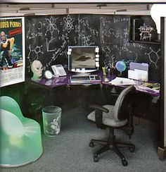 Chalkboard Cube #office #cubicle #designs