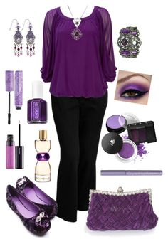 """""""Plus Size in Purple"""" by elise1114 ❤ liked on Polyvore featuring Old Navy, Wallis, Gypsy, 1928, Yves Saint Laurent, Essie, Shiseido, H&M and Urban Decay"""