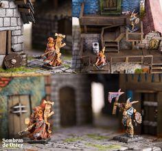 Mesa de juego, Detalle de un módulo de 35x35 cm y comparación de tamaño con miniaturas de escala 28mm.. http://sombrasdeoster.blogspot.com.es/