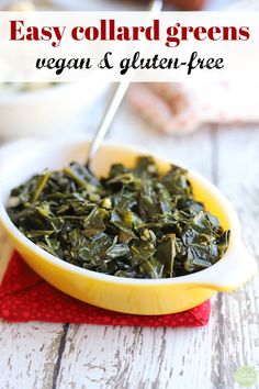 Easy collard greens - tender & garlicky Easy collard greens - tender & garlicky This is my go-to recipe for vegan collard greens. These easy collard greens have a richness about them and a melt-in-your-mouth quality. Quick Collard Greens Recipe, Southern Collard Greens, Turnip Greens Recipe Vegan, Cooking Collard Greens, Gluten Free Sides Dishes, Vegan Side Dishes, Per Diem, Vegetarian Food, Health