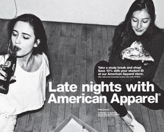 Late nights with american apparel - amerikanische Bekleidung American Apparel Ad, American Clothing, Look Back In Anger, Study Break, Late Nights, Fashion Branding, Photoshoot, People, Editorial