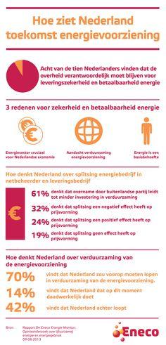 Opinieonderzoek over de splitsing van energiebedrijven.  Een ruime meerderheid van de Nederlanders vindt dat de overheid verantwoordelijk moet zijn voor de leveringszekerheid en betaalbaarheid van de energievoorziening. Energiebedrijven moeten daarom in Nederlandse handen blijven. Dit vindt een meerderheid van de Nederlanders, aldus een recente peiling in de Energie Monitor, uitgevoerd in opdracht van energiebedrijf Eneco.