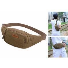 Canva Portable Fashionable Waist Bag Cross Body Pouch Zipper Bag for Men