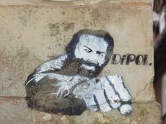 The powerful image of Bud Spencer is still depicted in graffiti art that graces city walls.