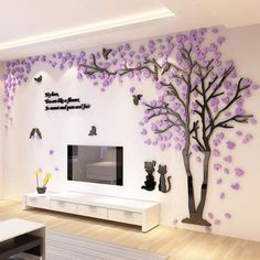 Large Size Couple Tree Mirror Wall Stickers TV Backdrop DIY Acrylic Autocollant Mural Home Decor Living Room Wall Decals Wall Stickers Tv, Wall Stickers Home Decor, Wall Decal, Tv Wanddekor, Room Decor For Teen Girls, Tv Wall Decor, Wall Decorations, Wall Tv, Tree Designs