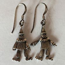 """Vintage sterling silver dangling """"CLOWN with moving legs and hands"""" e... Lot 862"""