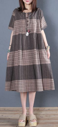 Italian brown Plaid Cotton linen Tunics o neck A Line summer Dresses Fancy Dress Design, Ladies Dress Design, Cotton Dresses Online, Linen Dresses, How To Wear Shirt, Shweshwe Dresses, Lazy Day Outfits, Kurta Designs Women, Dress Indian Style