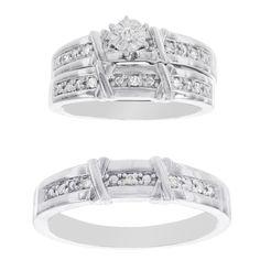 H Star Platina 4 Diamond 1/7ct Diamond Men's and Women's Engagement Trio Set (I-J, I2-I3) (Women's Size 8, Men's Size 8), White (satin)