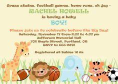 BABY BOY SHOWER Invitation Jungle Safari Zoo Animals & Sports Basketball Baseball Soccer Football on Etsy, $10.00
