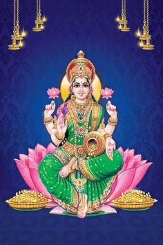 Lakshmi is also called Sri or Thirumagal because she is endowed with six auspicious and divine qualities, or gunas, and is the divine strength of Vishnu Lakshmi Photos, Lakshmi Images, Shiva Hindu, Hindu Deities, Durga Maa, Ganesh Lord, Ganesha, Attractive Wallpapers, Rama Image