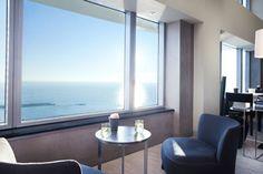Capture a splendid Mediterranean sunrise from Club Lounge at Hotel Arts Barcelona.Barcelona, Spain