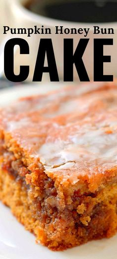 Pumpkin Honey Bun Cake - a gooey brown sugar and walnut filling in the center of a moist pumpkin cake topped with a simple glaze. Tolle Desserts, Köstliche Desserts, Great Desserts, Delicious Desserts, Health Desserts, Honey Bun Cake, Honey Buns, Pumpkin Recipes, Cake Recipes