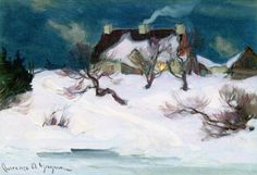 The Athenaeum - Moonlight, Île d'Orléans (Clarence Gagnon - ) Canadian Painters, Canadian Artists, Clarence Gagnon, Landscaping Around House, Art Database, Winter Time, Moonlight, Landscape Paintings, Illustration Art