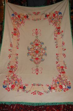 Beautiful 19th century Resht piece in great condition, embroided on Felt, lovely colours and very fnie embroidery, the size is 180/130 cm.