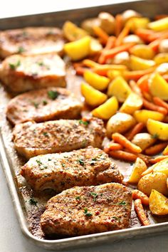 Your entire meal can be made in just one pan! Line your seasoned pork chops on one side and your potatoes and carrots on the other - dinner is done! Italian Pork Chops, Italian Chicken, Pan Pork Chops, Pork Chops And Potatoes, Chicken Potatoes, Garlic Chicken, Pork Loin, Garlic Bread, Pork Chop Dinner