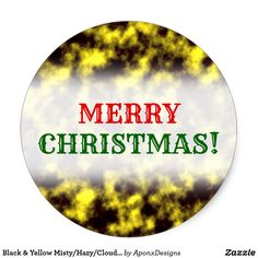 Shop Black & Yellow Misty/Hazy/Cloudy/Foggy Pattern Classic Round Sticker created by AponxDesigns. Christmas Stickers, Family Holiday, Round Stickers, Black N Yellow, Merry Christmas, Classic, Eve, Craft Supplies, Pattern