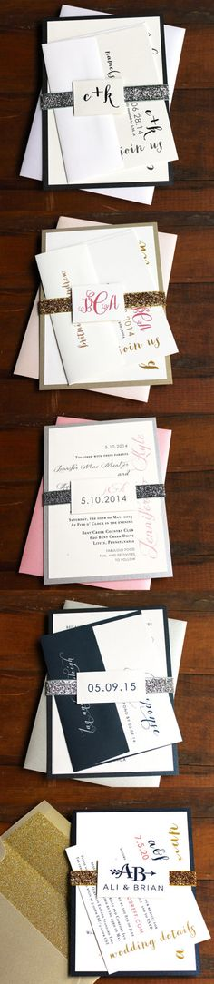 Glitter Wedding Invitations, Beacon Lane, Favorite Client Customizations from 2014! Not to brag or anything, but our clients are awesome!