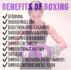 The top 10 benefits of Boxing! Fat Burning Increased Muscle Tone Builds strong bones & ligaments Increased cardiovascular fitness Improved muscular endurance Improved core stability Improved strength and power Stress Relief Impr Muay Thai, Michelle Lewin, Fitness Quotes, Fitness Tips, Weight Lifting, Boxe Fitness, Title Boxing, Boxing Boxing, Kick Boxing Girl