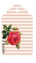 "Vintage shaby chic style pink & white stripe background with a large beautiful rose. Beautiful tag for DIY craft project, card or decoration. ""zetikpassiontagROSEpetite1"""