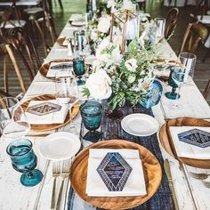 Gorgeous, check out this stained navy blue tablecloth, feel like a vintage wedding in timeless and memorable table setting centerpieces, diy wedding reception decorations Wedding Table Centerpieces, Wedding Table Settings, Wedding Decorations, Table Decorations, Place Settings, Blue Tablecloth, Boho Wedding, Wedding Reception, Trendy Wedding