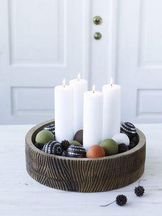 24 smukke adventskranse   Femina.dk>>creative use for a nut bowl!