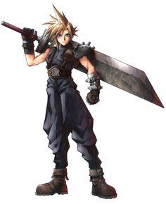 The definitive depiction of Cloud Strife from what may be the most popular and defining game Squaresoft ever produced: Final Fantasy VII, for the Playstation / PC, 1997