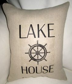 Lake House Nautical Burlap Pillow  by frenchcountrydesigns, $17.79