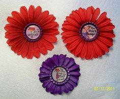 Flower Pins - Red Hatters