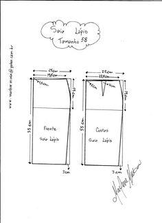 Esquema de Modelagem de Saia Lápiis tamanho 38.