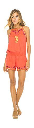 Halter Shorts Jumpsuit Coral M/L. Cute Playsuit Style Embroidered Romper brightens your summer look with delicate garlands of hand embroidery, sunny hues and an easy silhouette. Style features allow you to adjust the fit to your own body and comfort level; halter strings tie at the front as high or low as you like, and the elastic waistband sits lower as a drop waist or right at your middle. Free spirited design can slip over a bikini or swimsuit at the beach; or wear as a fun jumpsuit or…