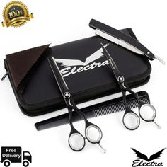 Professional Barber Hair Cutting/Thinning Scissors Shears Set Hairdressing Salon for sale online Professional Hairstyles, Scissors, Hairdresser, Salons, Hair Cuts, Health, Ebay, Kitty, Technology