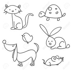 Illustration about Hand drawn cartoon pets, illustration. Illustration of rabbit, drawing, clip - 18441011 Doodle Drawings, Easy Drawings, Animal Drawings, Doodle Art, Animal Sketches, Drawing For Kids, Art For Kids, Animal Doodles, Rock Art
