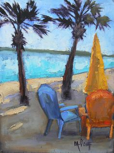 Landscape Daily Painting Tropical Umbrella and by CarolOnEdge, $99.95