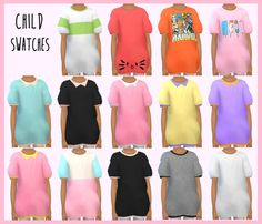 Oversized t-shirts for The Sims 4 All ages – children, teens, adults and elders Adult mesh by youn-zoey (you can download it here), converted to female by me Child mesh is an EA edit ...