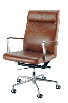 Brown leather and metal office chair on wheels Teacher Vintage Office Chair, Best Office Chair, Office Chair Without Wheels, Home Office Chairs, Home Office Furniture, Office Desks, Apartment Furniture, Vintage Chairs, Home Design