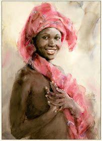 African Girl by Guan Weixing African Girl, African American Art, Watercolor Portraits, Watercolor Paintings, Watercolors, Art Academy, African Culture, Farm Yard, Portrait Art