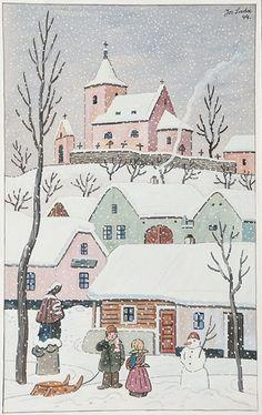 Winter Wonderlands by Josef Lada Naive Art, Winter Art, Graphic Design Posters, Children's Book Illustration, Art Sketchbook, Christmas Art, Cartoon Drawings, Winter Wonderland, Illustrators