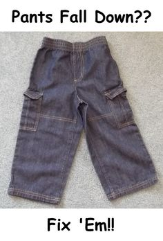 DIY Pants Fall Down by thecraftbarn: A super fast, easy fix which is easy to remove if you need to. #Kids #Pants #thecraftbarn #DIY