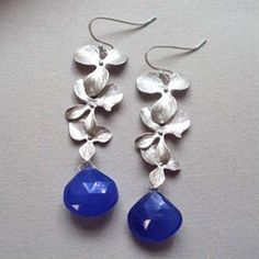 A Box For My Treasure Silver Earrings Orchid Blue