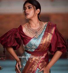 New Blouse Designs 2019 - Latest silk saree blouse designs Here are a few handpicked trending new blouse design 2019 which are suitable for your classic pattu sarees. Sari Blouse, Latest Saree Blouse, Latest Silk Sarees, Indian Blouse, Indian Saris, Blouse Neck, Ruffle Blouse, New Blouse Designs, Silk Saree Blouse Designs