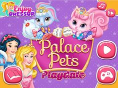 Play Palace Pets Playdate, a new game by Enjoydressup and join Aurora and Snow White for a fun day with their cute pets! Palace Pets, Disney Games, Games For Girls, News Games, Princess Peach, Cute Animals, Play, Dolls, Fictional Characters