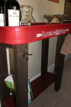 Repurposed Radio Flyer wagon turned into a bar cart or sofa table.