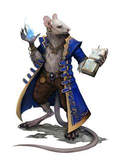 Ratling Male Wizard - Pathfinder PFRPG DND D&D d20 fantasy