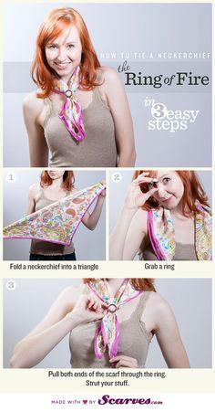 Comment faire pour mettre une bague de foulard autour d'un foulard, d'une écharpe ou d'une étole pashmina, technique facile à faire.